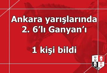 Ankara yarışlarında 2. 6'lı Ganyan'ı 1 kişi bildi